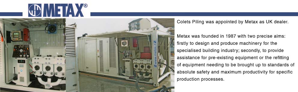 Metax - Jet Grouting and Mud Pumps - Colets Piling
