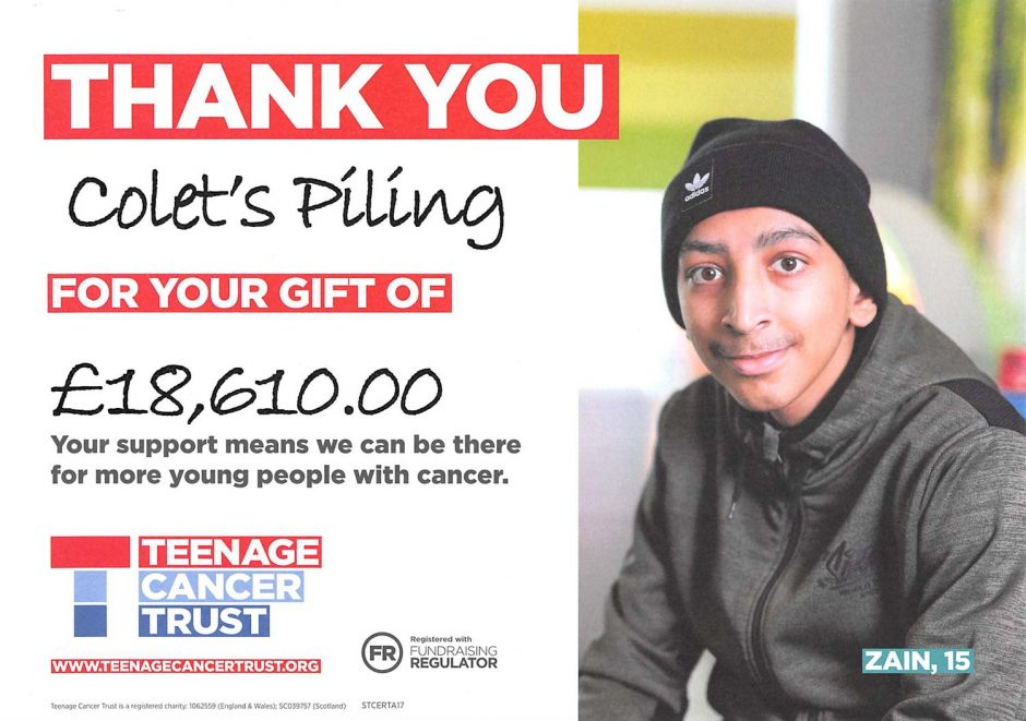 Colets Piling - Teenage Cancer Trust